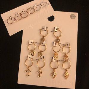 Small Huggie Hoop Earrings with Charms